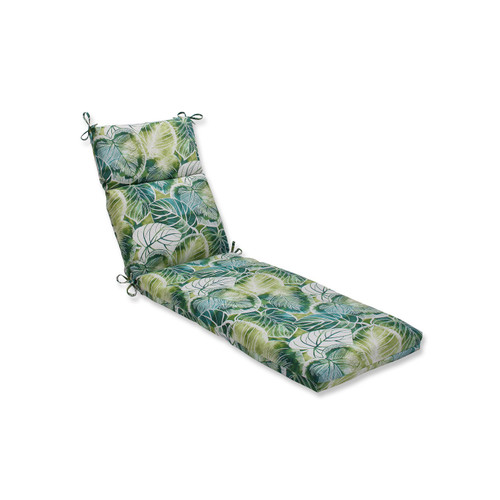 "72.5"" Green and Blue Outdoor Patio Chaise Lounge Cushions with Ties - IMAGE 1"
