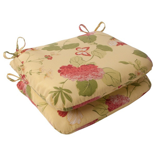 Set of 2 Solarium Bashful Blossom Outdoor Patio Furniture Rounded Chair Cushions - IMAGE 1