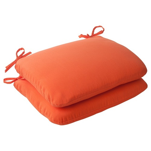"Set of 2 Orange Sunrise Outdoor Patio Rounded Seat Cushions 18.5"" - IMAGE 1"