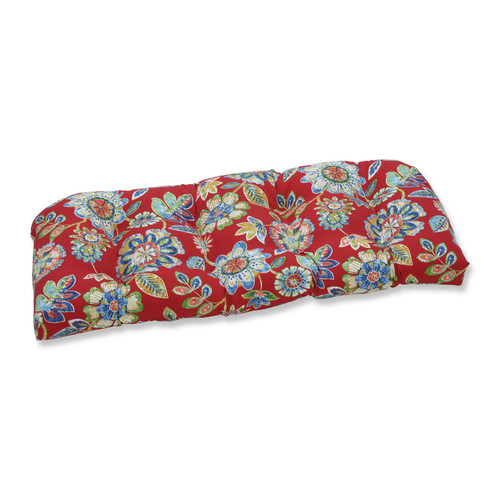 """44"""" Blooming Tropical Garden Tufted Outdoor Patio Wicker Loveseat Cushion - IMAGE 1"""