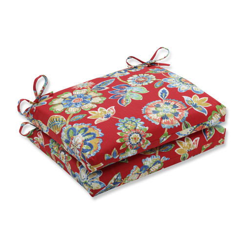 """Set of 2 Blooming Tropical Garden Outdoor Patio Chair Seat Cushions with Ties 18.5"""" - IMAGE 1"""