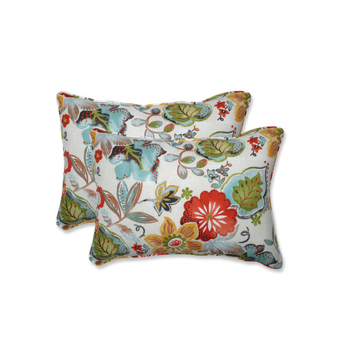"""Set of Two Baby Blue and Coral Red Accidental Arrangement Outdoor Rectangular Throw Pillows 24.5"""" - IMAGE 1"""