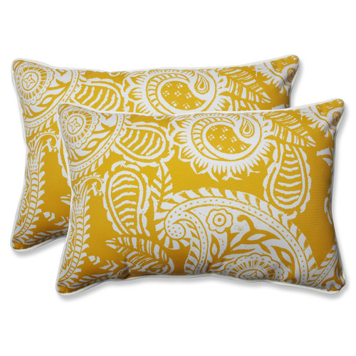 "Set of 2 Yellow and White Paisley Swirl Outdoor Corded Throw Pillows 24.5"" - IMAGE 1"
