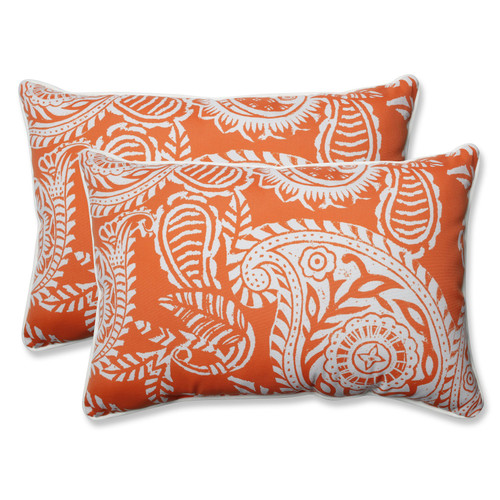 """Set of 2 White Paisley Swirl and Coral Oversized Rectangular Throw Pillows 24.5"""" - IMAGE 1"""
