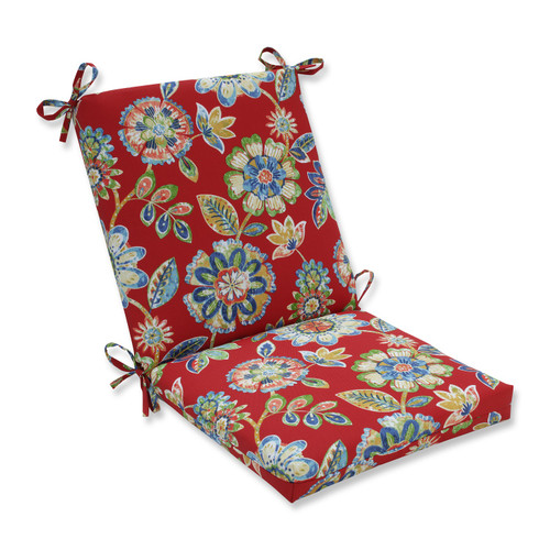 """36.5"""" Blooming Tropical Garden Outdoor Patio Chair Cushion with Ties - IMAGE 1"""