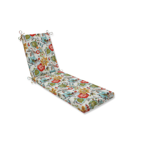 "80"" Accidental Coral Red and Green Floral Outdoor Chaise Lounge Cushion - IMAGE 1"