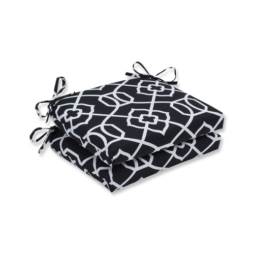 """Set of 2 Black and White Graceful Lattice Outdoor Patio Squared Chair Cushion 18.5"""" - IMAGE 1"""
