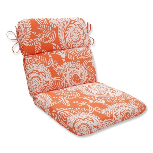 """40.5"""" White and Orange Coral Paisley Outdoor Patio Rounded Chair Cushion - IMAGE 1"""