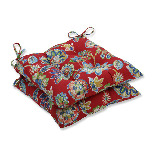 """Set of 2 Blooming Tropical Garden Outdoor Patio Wrought Iron Tufted Seat Cushions 19"""" - IMAGE 1"""
