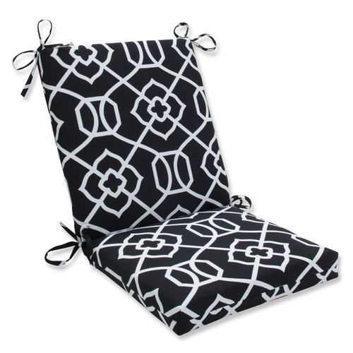 """Black and White Graceful Lattice Outdoor Patio Squared Chair Cushion 36.5"""" - IMAGE 1"""