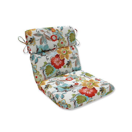 """40.5"""" Blue and Coral Paisley Patio Lounge Chair Cushion - IMAGE 1"""