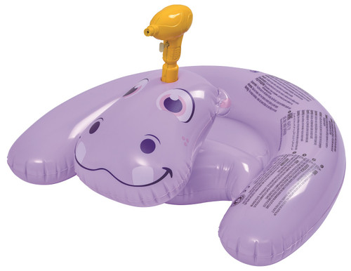 """35"""" Inflatable Purple Ride-On Hippo with Squirter Swimming Pool Toy - IMAGE 1"""