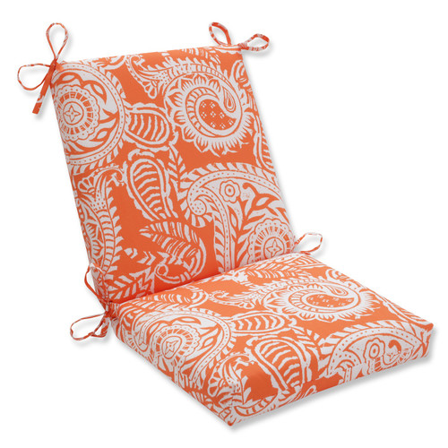 """36.5"""" White and Orange Coral Paisley Outdoor Patio Chair Cushion - IMAGE 1"""