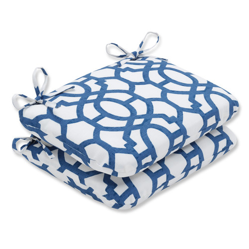 """Set of 2 Imperial Blue Grecian Trellis Reversible Outdoor Patio Rounded Chair Cushion 18.5"""" - IMAGE 1"""