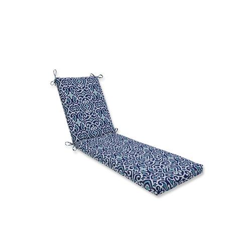 "80"" Damask Marine Blue and White Outdoor Chaise Lounge Cushion - IMAGE 1"