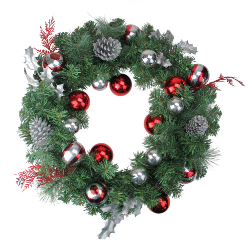 Red and Silver Ornaments Artificial Christmas Wreath - 24-Inch, Unlit - IMAGE 1