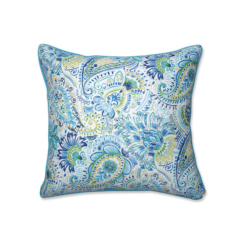 """25"""" Gilford Baltic Blue and Green Square Paisleys Outdoor Corded Throw Pillows - IMAGE 1"""