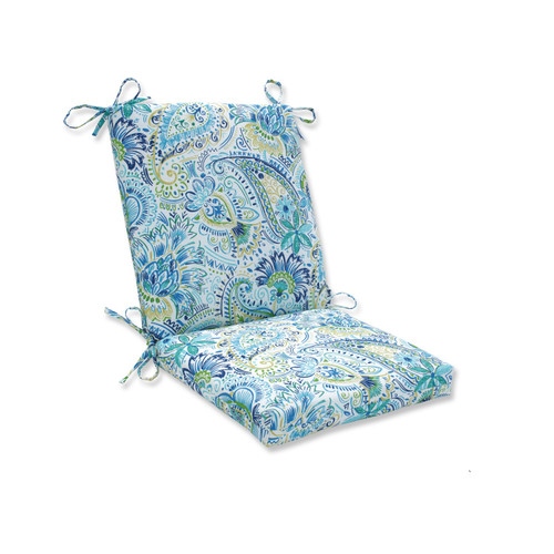 """36.5"""" Gilford Baltic Blue and Green Rectangular Paisley Outdoor Patio Chair Cushion - IMAGE 1"""
