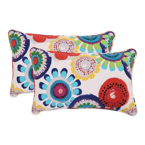 """Set of 2 Blue and White Floral Rectangular Outdoor Throw Pillows 18.5"""" - IMAGE 1"""