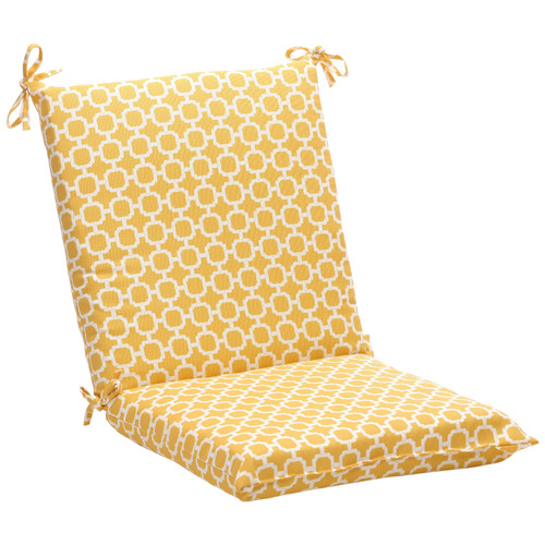 """36.5"""" Yellow and White Geometric Outdoor Patio Squared Chair Cushion - IMAGE 1"""