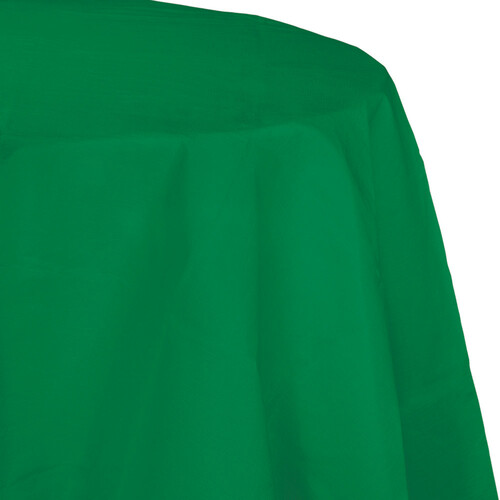 """Club Pack of 12 Emerald Green Disposable Round Picnic Party Table Covers 82"""" - IMAGE 1"""