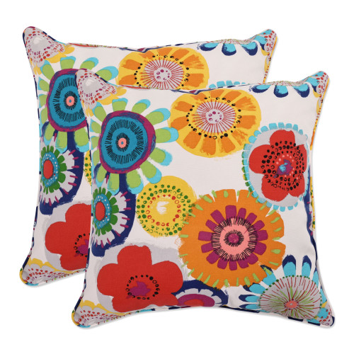 """Set of 2 Blue and White Floral Square Outdoor Throw Pillows 18.5"""" - IMAGE 1"""