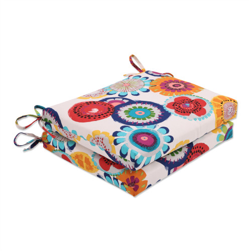 """Set of 2 Blue and White Floral Outdoor Patio Squared Corner Seat Cushions 18.5"""" - IMAGE 1"""