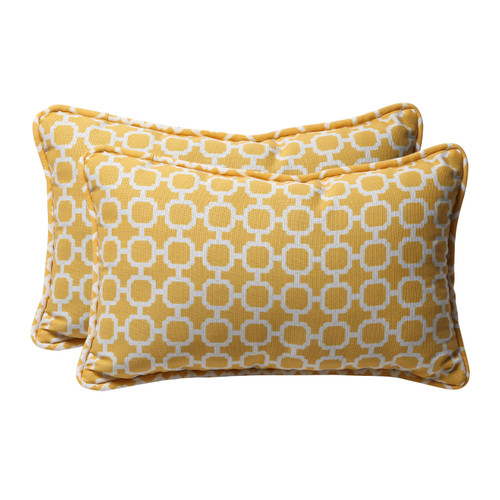 "Set of 2 Yellow and White Rectangular Geometric Outdoor Throw Pillows 18.5"" - IMAGE 1"