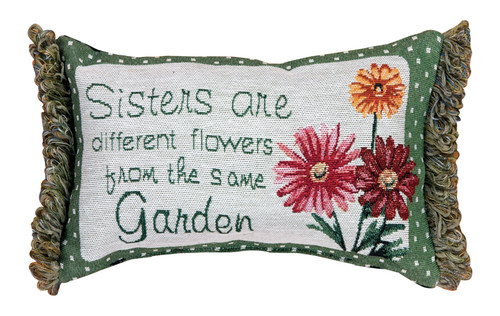 """12.5"""" Green and White """"Sisters"""" Rectangular Throw Pillow - IMAGE 1"""