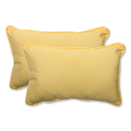 """Set of 2 Yellow Solid Outdoor Corded Rectangular Throw Pillows 18.5"""" - IMAGE 1"""