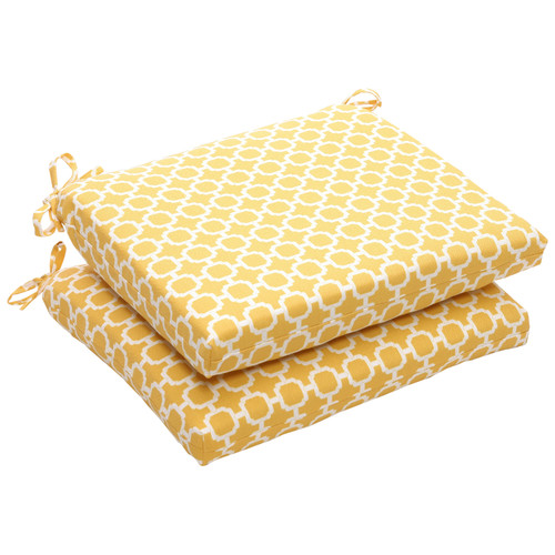 """Set of 2 Yellow and White Geometric Outdoor Patio Squared Corner Seat Cushions 18.5"""" - IMAGE 1"""