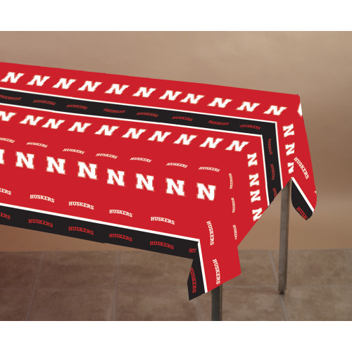 """Club Pack of 12 Red NCAA University of Nebraska Disposable Banquet Party Table Covers 108"""" - IMAGE 1"""