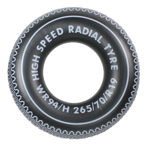"""35"""" Inflatable Black and White Radial Tire Swimming Pool Inner Tube Float - IMAGE 1"""