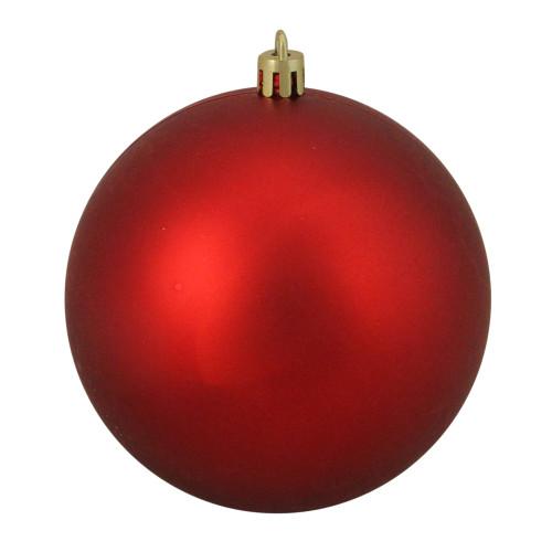 "Matte Red Shatterproof Christmas Ball Ornament 4"" (100mm) - IMAGE 1"