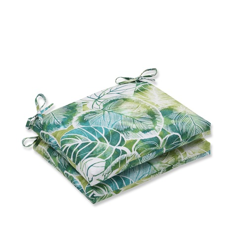 """Set of 2 Green and Blue Outdoor Patio Seat Cushions with Ties 18.5"""" - IMAGE 1"""