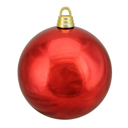 """Shiny Hot Red Shatterproof Christmas Ball Ornament 12"""" (300mm) - IMAGE 1"""