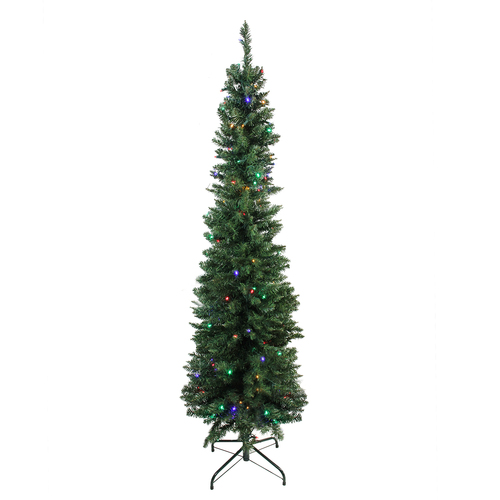 6' Pre-Lit LED Pencil Northern Balsam Fir Artificial Christmas Tree - Multi Lights - IMAGE 1
