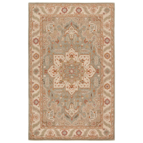 2' x 3' Tan and Ivory Oriental Hand Tufted Rectangular Wool Area Throw Rug - IMAGE 1