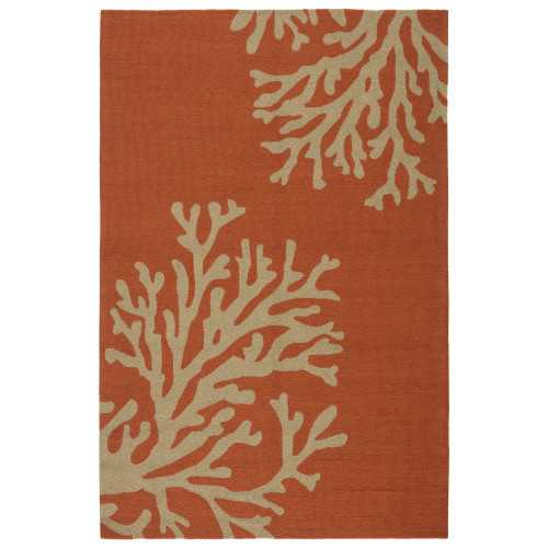 9' x 12' Creamy Orange and Coral White Bough Out Outdoor Area Throw Rug - IMAGE 1