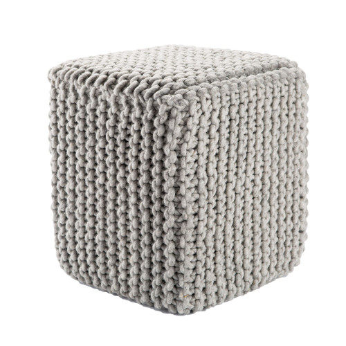 """18"""" Charcoal Gray Contemporary Textured Square Wool Pouf Ottoman - IMAGE 1"""