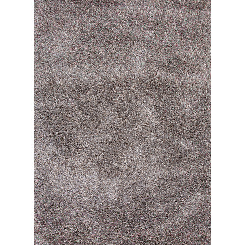 7.8' x 9.8'  Ash Gray and White Solid Handmade Textured Shag Area Throw Rug - IMAGE 1