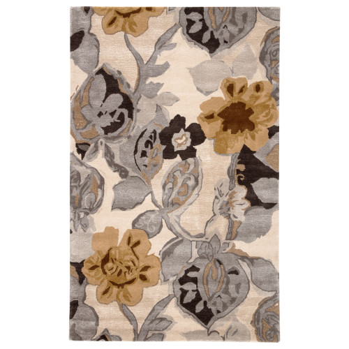 8' x 10' Gray and Brown Petal Pusher Hand Tufted Area Throw Rug - IMAGE 1