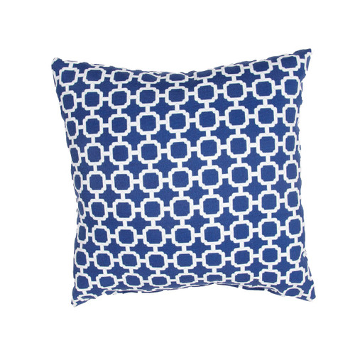 18'' Navy Blue and White Contemporary Geometric Patterned Square Throw Pillow - IMAGE 1
