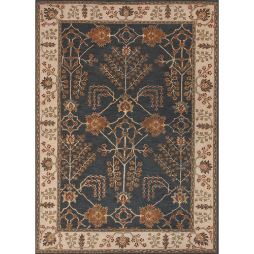 2.5' x 8' Red and Blue Chambery Classic Arts And Crafts Style Hand-Tufted Wool Area Throw Rug - IMAGE 1