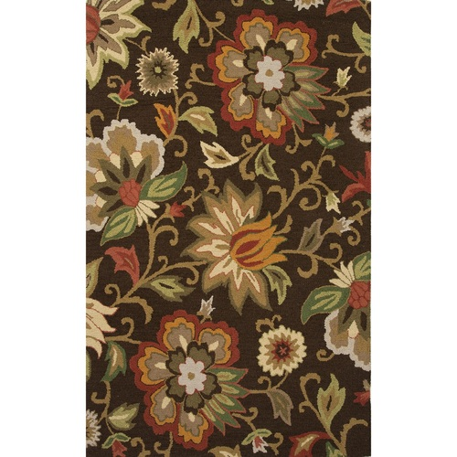 5' x 8' Brown and Green Floral Hand Tufted Rectangular Wool Area Throw Rug - IMAGE 1