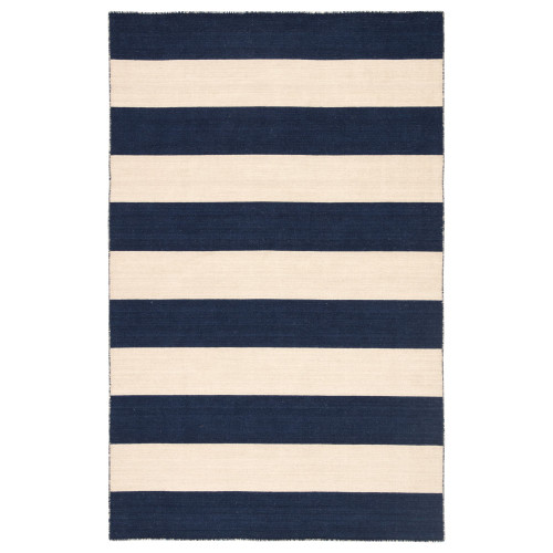 5' x 8' Blue and Tan Contemporary Hand Tufted Rectangular Wool Area Throw Rug - IMAGE 1