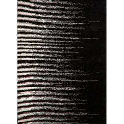 8' x 10' Caviar Black and Antique-White Striped Tabo Hand Tufted Wool Area Throw Rug - IMAGE 1