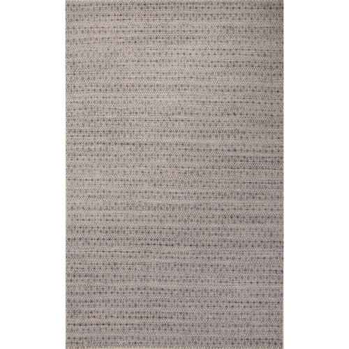 5' x 8' Patriot Blue and Taupe Flat-Weave Prism Moroccan Pattern Wool and Art Silk Area Throw Rug - IMAGE 1