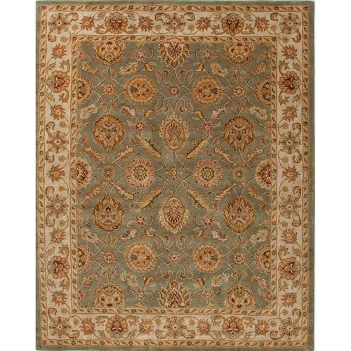 5' x 8' Blue and Light Coffee Brown Hand Tufted Wool Area Throw Rug - IMAGE 1