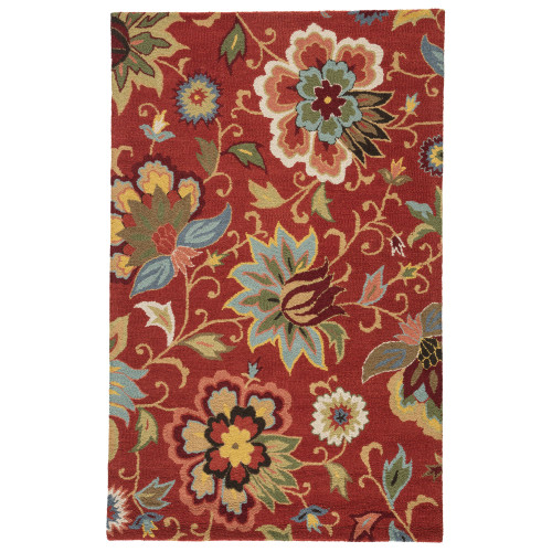 3.5' x 5.5' Red and Green Floral Hand Tufted Rectangular Wool Area Throw Rug - IMAGE 1